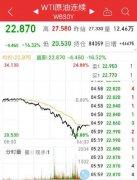 国际油价逼近20美元 跌幅24%