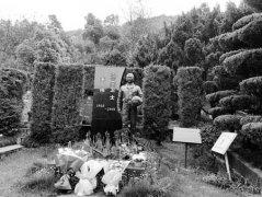 王伟墓前有人送来歼20模型
