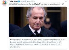 华尔街巨骗麦道夫狱中去世