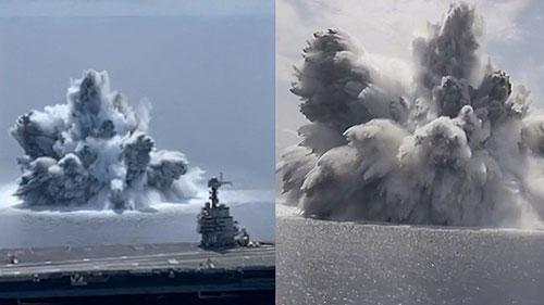 美军航母旁数千磅炸药爆炸